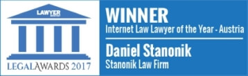 Legal Awards 2017 - Internet Law Lawyer of the Year Austria Daniel Stanonik